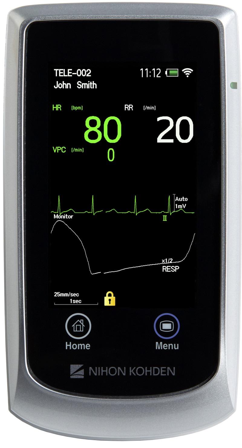 Der tragbare Monitor GZ-120, Teil von Nihon Kohdens neuem NK-HiQ drahtlosen Patientenüberwachungssystem